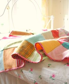 Beautiful wool patchwork blanket made from recycled felted jumpers Sweater  Quilt ff43cddab
