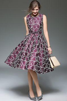 CA 63.69 Purple Belted Floral Jacquard Dress Skater Dress f05f3ec89