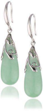 Amazon.com: Sterling Silver, Green Jade Teardrop Fish Hook Earrings: Pearlzzz: Jewelry