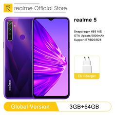 """Global Version realme 5 3GB RAM 64GB ROM 6.5"""" Moblie Phone Snapdragon 665 AIE Octa Core Cellphone 5000mAh Smartphone  Price: 1350.98 & FREE Shipping  #instagood Smartphone Price, Special Promotion, You Can Do, Core, Free Shipping"""