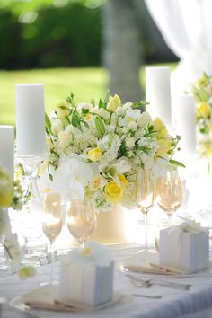 White, yellow, green floral centerpiece