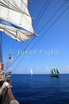 Sedov sail training four masted barque, Alexander von Humboldt Barque in the background, Funchal 500 Race 2008, Atlantik Ocean