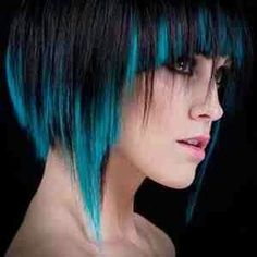 Gorgeous Turquoize Mid-lengths. Choppy short hair