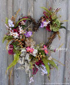 Spring Wreath, Easter Wreath, Country French Wreath, Heart Wreath, Elegant Victorian Wreath, Summer Garden Wreath, Romantic Wedding Decor, New England Wreath