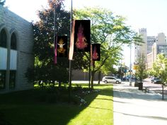 Outdoor banners in front of First Presbyterian Church of Flint Michigan created by Julie Jones at ArtFromTheSoul.com