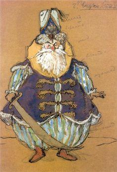 """Pasha. Costume design for Tcherepnin's ballet """"Le Pavillon D'armide"""" by Alexandre Benois, 1907."""