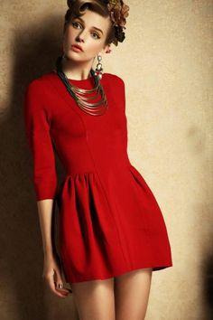 Red Three Quarter Length Sleeve Flare Dress