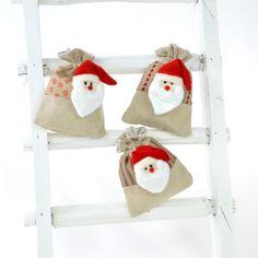 Geschenkbeutel - Santa Claus, 6er-Set - Leinenbeutel mit Santa Claus-Kopf.
