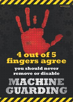 This workplace safety poster reminds workers of the serious risks associated with removing or disabling machine guarding. Available as & in Australia and NZ (printed in Aus), and & in the USA and Canada (printed in US). Health And Safety Poster, Safety Posters, Workplace Safety Tips, Safety Fail, Safety Slogans, Workers Compensation Insurance, Safety Meeting, Ms Project, Safety Message