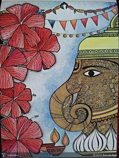 Ganesha in Painting by Amruta Naik