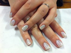 CND Shellac Christmas Nail Art - Studio White layered with Moonlight and Roses, iridescent glitter paste with Mother of Pearl taped diagonally across half the nail.