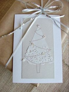 The perfect Christmas card (paper lace napkins). Homemade Christmas Cards, Christmas Cards To Make, All Things Christmas, Homemade Cards, Holiday Cards, Christmas Makes, Noel Christmas, Handmade Christmas, White Christmas