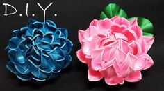 New Kanzashi Lotus, MyInDulzens. In this video, I have tried making Kanzashi Lotus. Hope you will like it and enjoy making the flower. Diy Lace Ribbon Flowers, Ribbon Flower Tutorial, Diy Ribbon, Ribbon Work, Ribbon Crafts, Felt Flowers, Flower Crafts, Fabric Flowers, Bow Tutorial