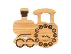 Wooden Train Clock, Bamboo Clock for Boys' Rooms, Baby Nursery Decor, Clock with Silent Motor, Eco-Friendly Wood Clock by KeepsakeToys on Etsy https://www.etsy.com/listing/169445442/wooden-train-clock-bamboo-clock-for-boys