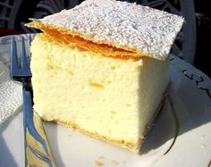 "Hungarian Kremes Recipe This is the most popular Hungarian pastry, simply called ""Creamy"". It is a light and fluffy custard cream mix. Hungarian Desserts, Hungarian Cake, Hungarian Cuisine, Hungarian Recipes, Hungarian Food, Just Desserts, Delicious Desserts, Dessert Recipes, Yummy Food"