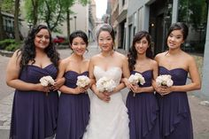 Fairmont Hotel Vancouver Wedding //  Red Carpet Ready Beauty //  The Brock House Wedding // Mikaela Ruth Photography // Deep purple bridesmaid dresses
