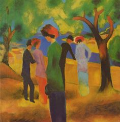 August Macke (German, 1887-1914),  Dame in grüner Jacke [Lady in a Green Jacket], 1913. Color on canvas, 44 x 43 cm.