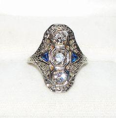 Antique Art Deco Three Diamond & Natural Blue Sapphire 18K White Gold Ring