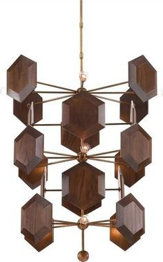 Chandelier Pendant CURREY & COMPANY HONEYCOMB 12-Light Adjustable Br CC-2798
