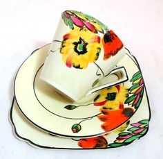 Art Deco Trio Handpainted Floral Empire Ware Handcraft by keepsies, £18.00