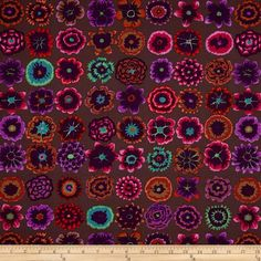 Kaffe Fassett Collective Button Flowers Prune from @fabricdotcom  Designed by Kaffe Fassett for Westminster/Rowan Fabrics, this cotton print is perfect for quilting, apparel and home decor accents. Colors include shades of pink, green, turquoise, orange, burgundy, shades of purple and brown.