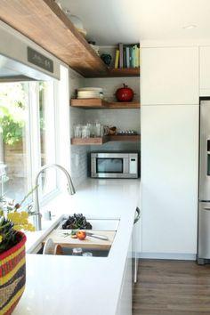 New Kitchen Sink Window Decor Bathroom Ideas Small Kitchen Storage, Kitchen Shelves, Kitchen Decor, Kitchen Cabinets, Open Shelves, Kitchen Small, Kitchen Ideas, Wall Shelves, Wood Shelf