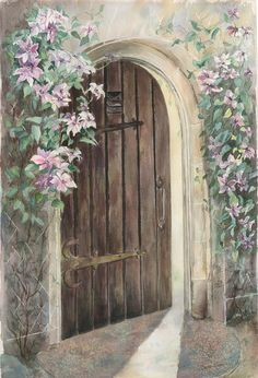 www.etsy.com/shop/DeniseRizzoStudio.  This is a giclee print on Hahnemuhle German Etching paper. It is a print of an original watercolor painting done of a garden door with lovely clematis vines at Longwood Gardens in Pennsylvannia.