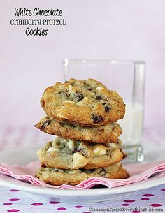 White Chocolate Cranberry Pretzel Cookies