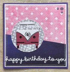 Marianne Design, Vw Camper, I Card, Design Cars, Happy Birthday, Kids Rugs, Stickers, Volkswagen, Sketch