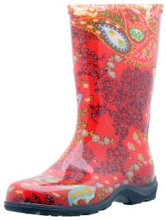 """Save $7.07 on Sloggers  Women's Rain and Garden Boot with """"All-Day-Comfort"""" Insole, Paisley Red - Wo's size 8 - Style 5004RD08...; only $29.92"""