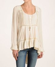 Free People Crinkle Gauze and Lace Blouse - so cute