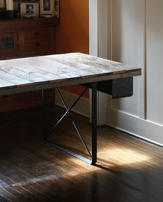 ON SALE - industrial rustic work desk - table from reclaimed wood with recycled-content steel legs and steel drawers
