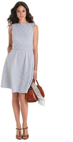 Brooks Brothers Petite Seersucker Dress in Blue (dark-blue)