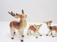 Miniature REINDEER. Reindeer FAMILY. Miniature Deer. Reindeer FIGURINE. vintage…