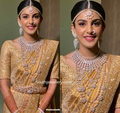 South Indian Bride in elegant wedding jewellery. She adorned a diamond necklac. - South Indian Bride in elegant wedding jewellery. She adorned a diamond necklace, layered diamond - South Indian Bride Jewellery, Bridal Sarees South Indian, Indian Bridal Jewelry Sets, Indian Bridal Outfits, Indian Bridal Fashion, Indian Jewellery Design, Bridal Jewellery, Jewellery Designs, Indian Wedding Sarees