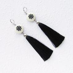 Black Tassel Earrings gift for wife Statement earrings gift for sister, Black fringe earrings gifts Navy Earrings, Green Tassel Earrings, Tassel Jewelry, Fringe Earrings, Bridal Earrings, Statement Earrings, Jewelery, Handmade Jewelry, Unique Jewelry