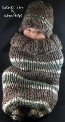 A Place For My Cards: Earth Tones Baby Cocoon and Hat