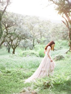 Beautiful Carol Hannah two piece blush dress. Whimsical wedding inspiration shoot from Amee Cheung Photography.