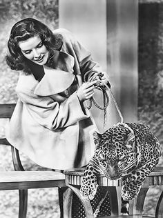 """deforest:  """" Katharine Hepburn and Nissa the leopard in a promotional photo  for Bringing Up Baby (1938)  """""""