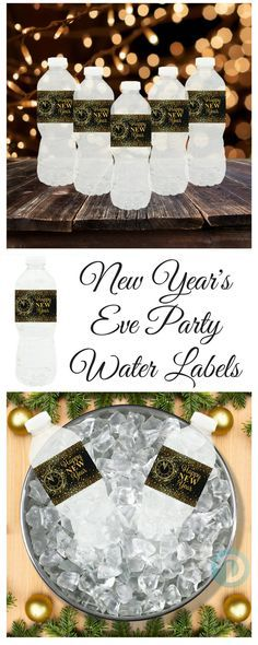 These New Year's  Eve Party water bottle labels are perfect for home, work or school parties.