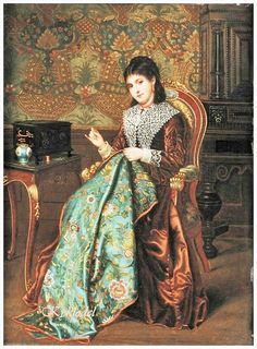 Agapit Stevens (Belgian, 1849-1917) «Portrait of a Woman with Embroidery» 19th century