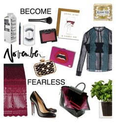 """Become Fearless."" by marilu ❤ liked on Polyvore featuring Roksanda, Halston Heritage, Victoria Beckham, self-portrait, Christian Louboutin, Boskke, Kusmi Tea, Garance Doré, Gucci and NARS Cosmetics"