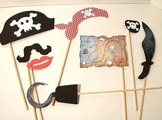 8 Piece Pirate Party Props  Pirate Theme Photo by IttyBittyWedding, $24.00