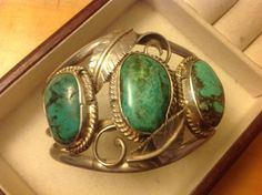 Dead-Pawn-Navajo-Native-American-Sterling-925-Green-Turquoise-Cuff-Bracelet