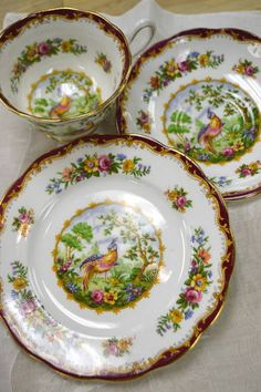 """Chelsea Bird"" Trio - Royal Albert Bone China from England - Teacup and Saucer with Dessert Plate"
