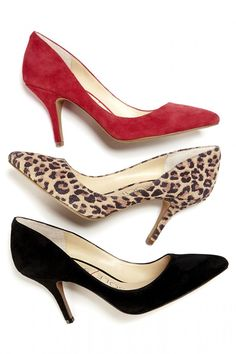 Luxurious suede pointed toe pumps in red, leopard and black