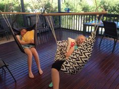 Hammock chairs - nailed it! Hammock Chair, Porch Swing, Outdoor Furniture, Outdoor Decor, Toddler Bed, Chairs, Home Decor, Homemade Home Decor, Hanging Chair