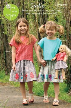 Sadie - Tops and skirt in children sizes 3 to 10 with matching doll outfits. View A Top has a playful high-low hemline and View B Top has a sporty crop top hemline that comes to just below the waist. Both button down the back. The semi-circular skirt is twirly without being bulky and has an elastic waistband with a functional drawstring. Optional, easy-to-apply appliques  of birds or hearts look adorable along the bottom of the skirt. Comes with matching doll tops and a doll skirt that fit…