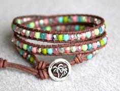 Turquoise, Pink, Green Boho leather wrap bracelet 'After the Rain', 3x Wrap, Chan Luu Style, palm tree, tropical, blue, trendy jewelry. $42,00, via Etsy.