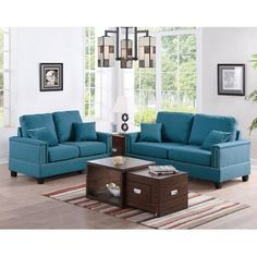 Infini Furnishings Sofa and Loveseat Upholstery: Blue Teal